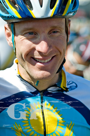 A smiling Levi Leipheimer as the end of his GranFondo